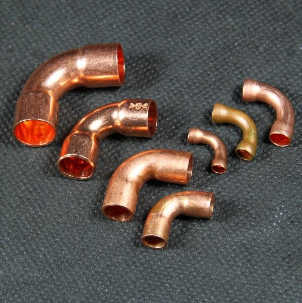 Verlötbare 90° Fittings in verschiedenen Größen für den Dampfmodellbau