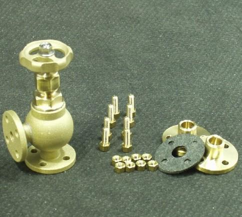 Eckventil mit Flanschen und Modellbauschrauben für den Modellbau