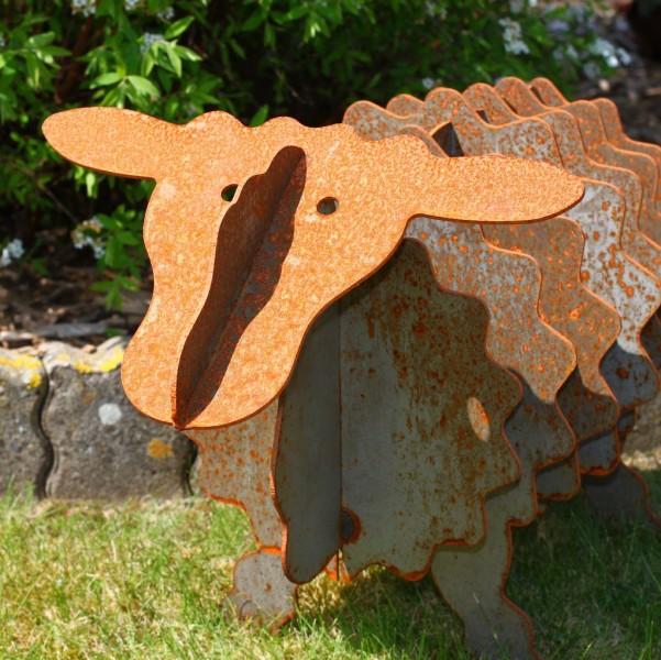 Gartenskulptur Schaf mit Edelrost